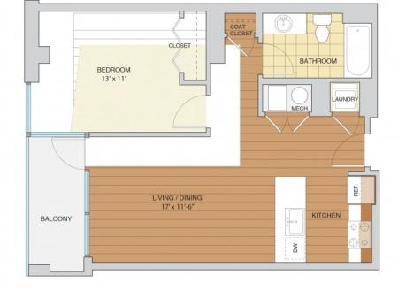 1 Bed 1 Bath Floor Plan A5