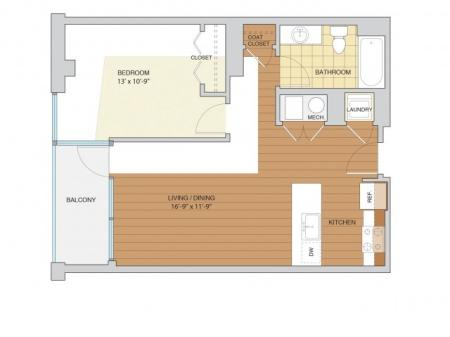 1 Bed 1 Bath Floor Plan A6