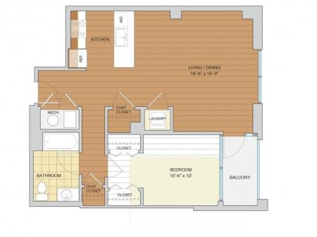 1 Bed 1 Bath Floor Plan A8