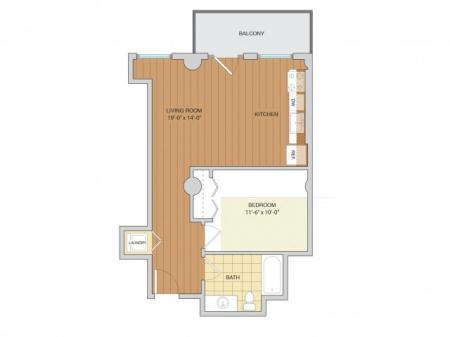 1 Bed 1 Bath Floor Plan A11