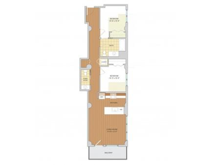 2 Bed 1.5 Bath Floor Plan B6