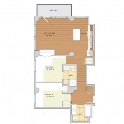 2 Bed 2 Bath Floor Plan B7