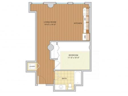 1 Bed 1 Bath Floor Plan A12