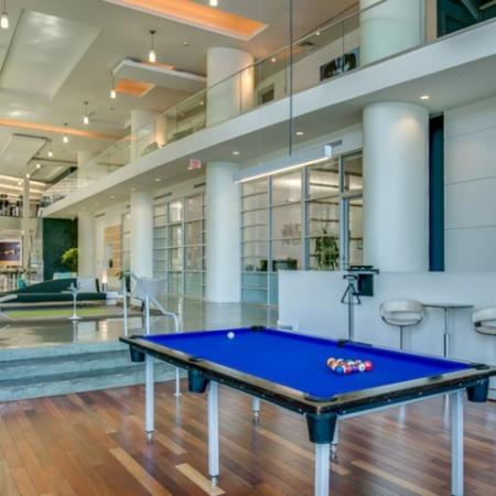 The Strand view of expansive two story room with billiards table and seating areas