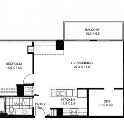One Bedroom One Bathroom with Den Floor Plan A11
