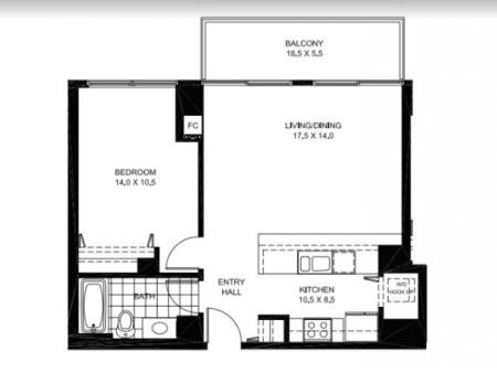 One Bedroom One Bathroom Floor Plan A13