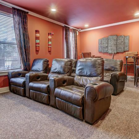 Theater Room with TV and recliners