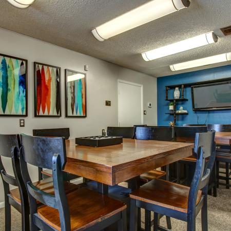 Clubroom with conference table and TV