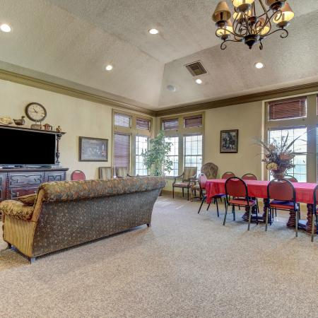 Clubhouse with couch seating and TV