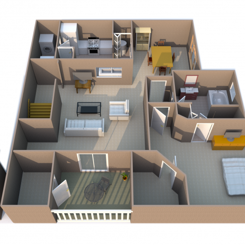 St Barth one bedroom one bathroom floor plan