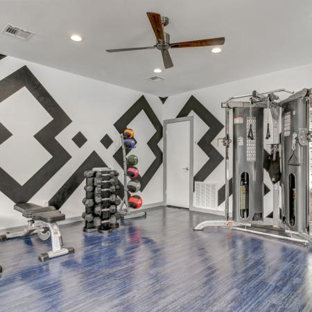 Fully Equipped Fitness Center with free weights and weight machine