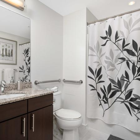 Model bathroom with espresso cabinetry, brushed nickel hardware, sink, and bathtub shower combo