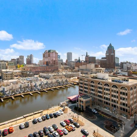Milwaukee city view and reserved outdoor parking