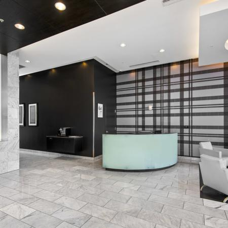 Furnished lobby with an on-site service concierge desk