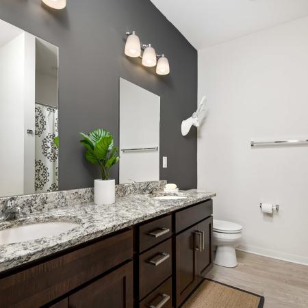 Modern bathroom with granite countertops