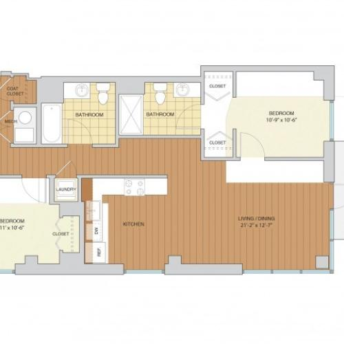 2 Bed 2 Bath Floor Plan B5