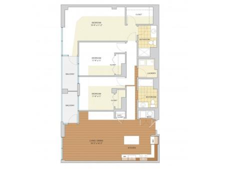 3 Bed 2 Bath Floor Plan C1
