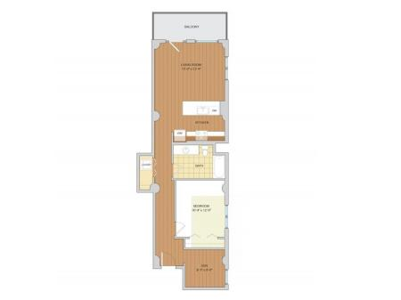 1 Bed 1 Bath + Den Floor Plan A15