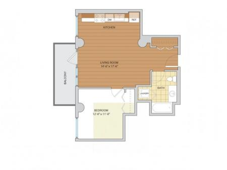 1 Bed 1 Bath Floor Plan A9
