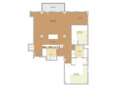2 Bed 2 Bath Floor Plan B10