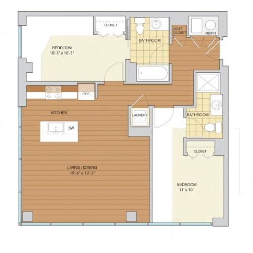 2 Bed 2 Bath Floor Plan B3