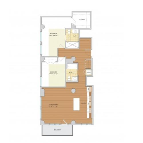2 Bed 2 Bath Floor Plan B9