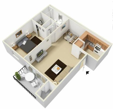One bedroom one bathroom 3D floor plan