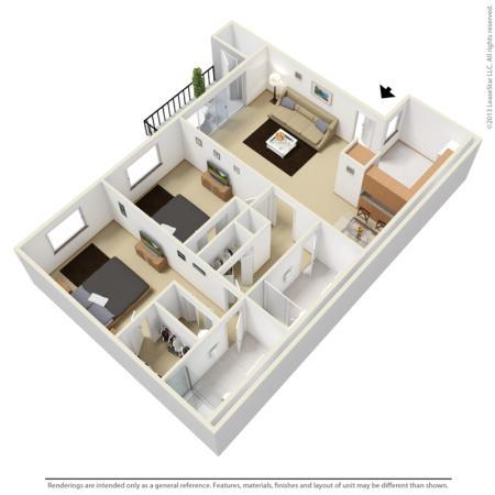 Two bedroom two bathroom 3D floor plan