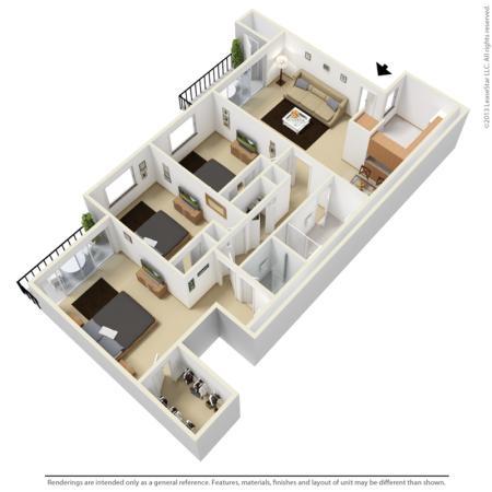 Three bedroom two bathroom 3D floor plan