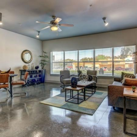Large, open floor plans, with lots of natural sunlight. Exposed concrete floors.