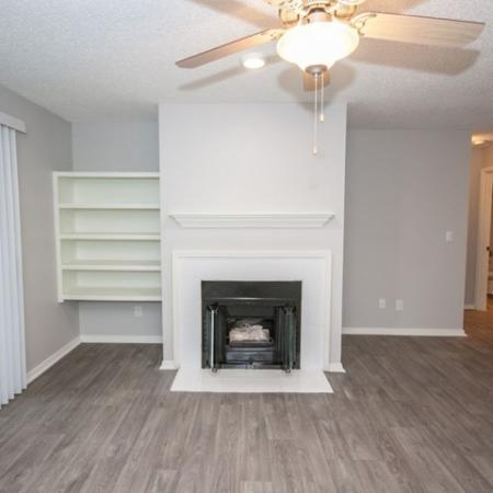 Built in bookshelves with fireplace in the living room