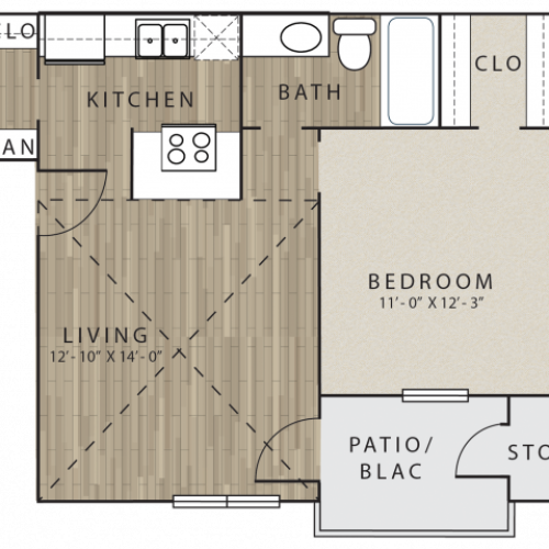 A1 one bedroom, one bath with patio/balcony