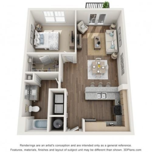 Gem floorplan One Bedroom One Bath