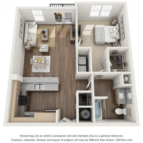 Minnehaha floorplan One Bedroom One Bath