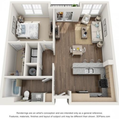 Sybelia floorplan One Bedroom One Bath