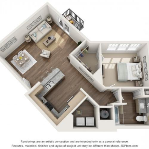 Lotus floorplan One Bedroom One Bath