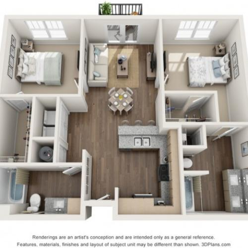 Maitland floorplan Two Bedroom Two Bath