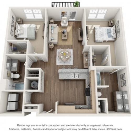 Colony floorplan Two Bedroom Two Bath