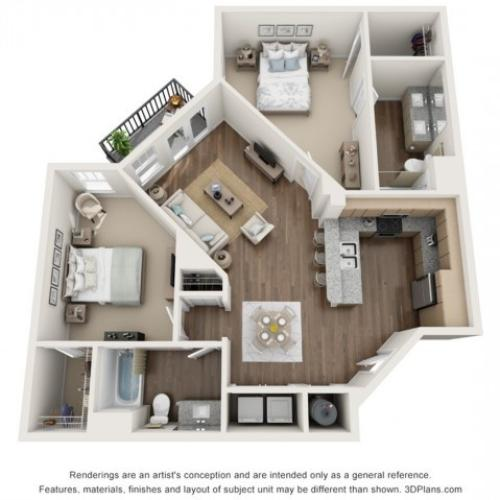 Harvest floorplan Two Bedroom Two Bath
