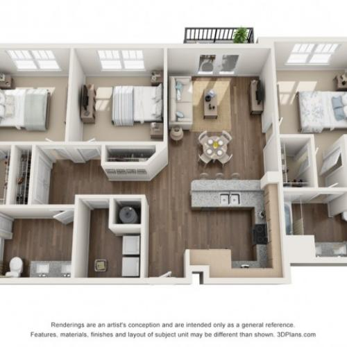 Shadow floorplan Three Bedroom Two Bath