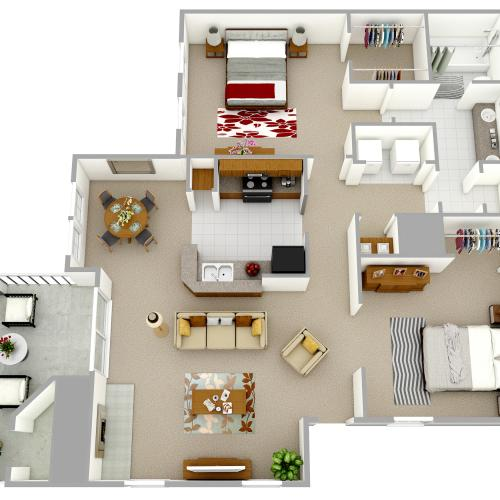 A3 - One Bedroom, One Bathroom with Den