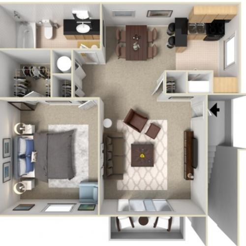 Bamboo 704 Square Feet One Bedroom | One Bathroom