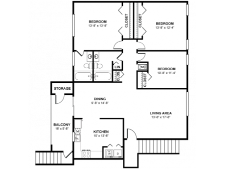 Palmetto 1359 Square Feet Three Bedroom | Two Bathroom