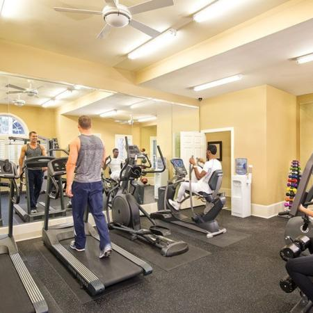 Fully equipped fitness center with weight and cardio studio