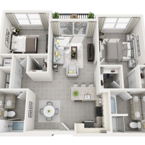Panama two bedroom two bathroom 3D floor plan