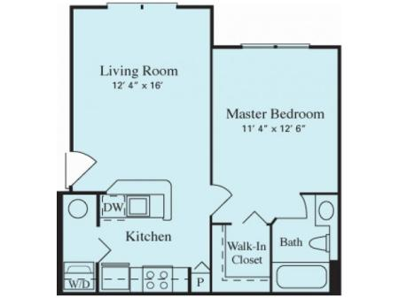 Amelia 569 square feet One Bedroom One Bathroom Floor Plan