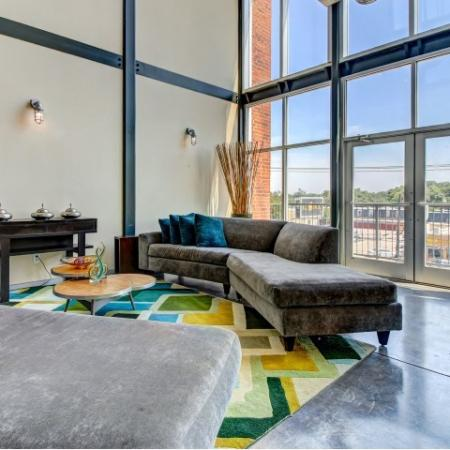 Serene lounge with Dallas city views.