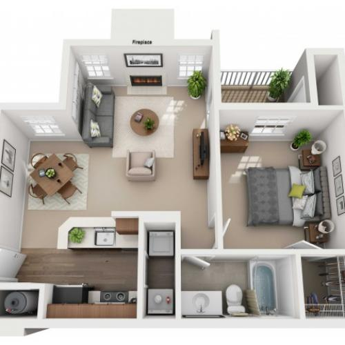 One Bedroom One Bathroom - 648 sq ft