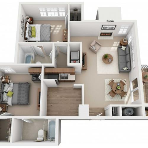 Two Bedroom Two Bathroom - 925 sq ft