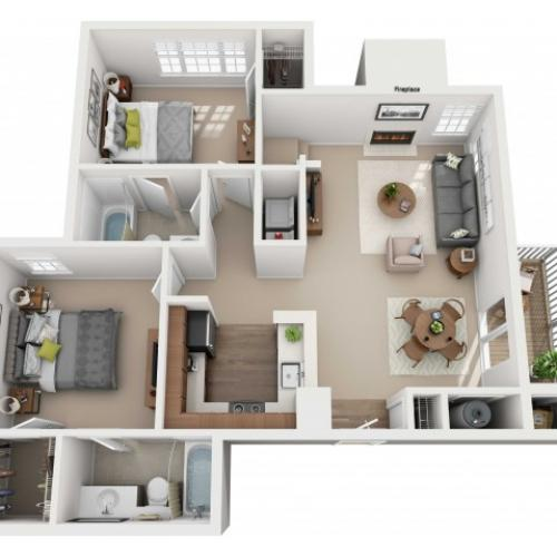 Two Bedroom Two Bathroom - 1163 sq ft